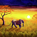 Elephant In Purple Twilight by Laura Iverson