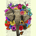 Elephant With Colorful Flowers Illustration by Madame Memento