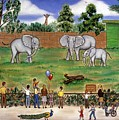 Elephants At The Zoo by Linda Mears