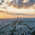 Elevated View Of Paris At Sunset by James Udall