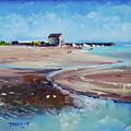 Elie Beach 2018 Oil by Peter Tarrant