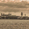 Ellis Island Panorama In Sepia by Bill Cannon