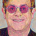 Elton John Triangles Portrait by Yury Malkov