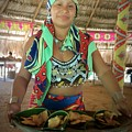 Embera Indian Lady Serving A Meal by Jennifer E Doll