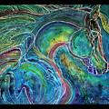 Emerald Eye Equine Abstract Batik by Marcia Baldwin