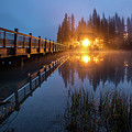 Emerald Lake Lodge In The Twilight Fog by Pierre Leclerc Photography
