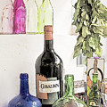 Empty Bottles And Laurel Bouquet Still Life by Heiko Koehrer-Wagner