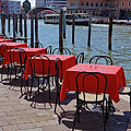 Empty Canal Side Tables Awaiting Hungry Customers In Venice, Italy  by Richard Rosenshein