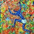 Encaustic  Man  Jumping by Carl Deaville