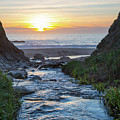End Of The Road - Creek Runs Into Pacific Ocean At Big Sur by Southern Plains Photography
