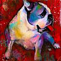 English American Pop Art Bulldog Print Painting by Svetlana Novikova