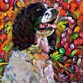 English Springer Spaniel In The Garden by Peggy Collins