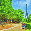 Enjoying The Champ De Mars Near The Eiffel Tower by Digital Photographic Arts