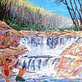 Enjoying Waterfall by Narayan Iyer