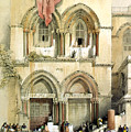 Entrance To Church Of The Holy Sepulchre Card by Munir Alawi