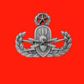 Eod Master Badge Emblem On Red by Will Dyuran