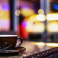 Espresso Coffee Cup In Cafe At Night by Jacek Malipan