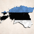 Estonia Map Art With Flag Design by World Art Prints And Designs