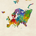 Europe Continent Watercolor Map by Michael Tompsett