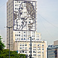 Eva Peron Outlined On The Wall Of A Skyscraper On July Nine Avenue  In Buenos Aires-argentina by Ruth Hager
