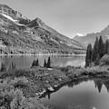 Evening At Lake Josephine Black And White by Adam Jewell