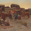 Evening Falls At The Camp by Franz Roubaud