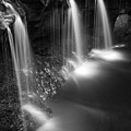 Evening Plunge Waterfall Black And White by John Stephens