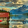 Evening Reflections At Maligne Lake Panorama by Adam Jewell