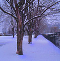 Evening Snow Path At Waterfront Park Burlington Vermont by Felipe Adan Lerma