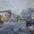 Evening Snowfall At Webster St by Ylli Haruni