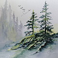 Evergreens In The Mist by Joanne Smoley