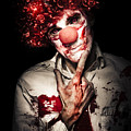 Evil Blood Stained Clown Contemplating Homicide by Jorgo Photography - Wall Art Gallery