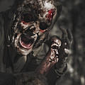 Evil Male Zombie Screaming Out In Bloody Fear by Jorgo Photography - Wall Art Gallery