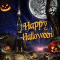 Evocation In Halloween Night Greeting Card by Alessandro Della Pietra