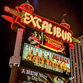 Excalibur Casino Sign Night by Aloha Art