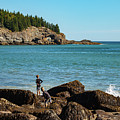 Exploring Rocks At Sand Beach by Faith Harron Boudreau