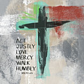 Expressionist Cross Love Mercy- Art By Linda Woods by Linda Woods