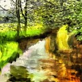 Expressionist Riverside Scene L A by Gert J Rheeders