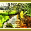 Expressionist Riverside Scene L A With Alt. Decorative Printed Frame. by Gert J Rheeders