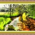Expressionist Riverside Scene L B With Alt. Decorative Printed Frame.  by Gert J Rheeders