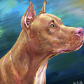 Expressive Painting Of A Red Nose Pit Bull On Blue Background by Idan Badishi