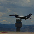 F-16 And Tower by Brian Jordan
