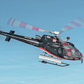 F-gsdg Eurocopter As350 Helicopter In Blue Sky  by Roberto Chiartano