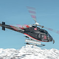 F-gsdg Eurocopter As350 Helicopter Over Mountain by Roberto Chiartano