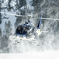 F-hana Eurocopter Ec-130 Landing Helicopter At Courchevel by Roberto Chiartano