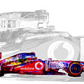 F1 Race Car Digital Painting by David Haskett II