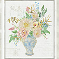 Faded Glory Chinoiserie - Floral Still Life 1 Blush Gold Cream by Audrey Jeanne Roberts