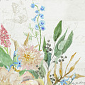 Faded Glory Chinoiserie - Floral Still Life 1 Chrysanthemum Mum W Seeded Eucalyptus by Audrey Jeanne Roberts