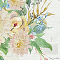 Faded Glory Chinoiserie - Floral Still Life 4 Blush Rose N Chrysanthemum by Audrey Jeanne Roberts