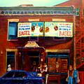 Fairmount Bagel By Montreal Streetscene Painter Carole  Spandau by Carole Spandau